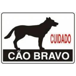 (WhatsApp) placa de sinalização acesso - cuidado cão bravo