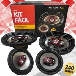 Kit Fácil Bravox Alto Falantes 6 Triaxial e 6x9 Quadriaxial 240W RMS 4 Ohms Bobina Simples