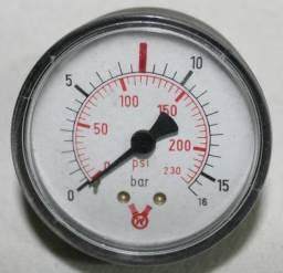 Manômetro 0-230 psi / 0-16 bar