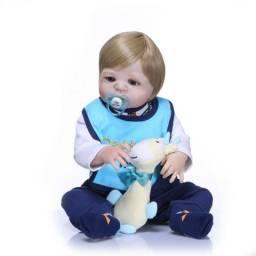 Boneca Reborn de Silicone Bebe com acessórios