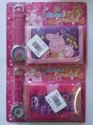 Kit carteira e relógio menina