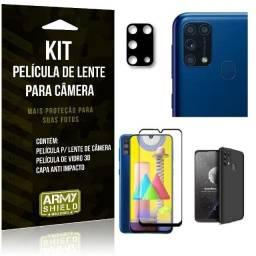 Kit Capa Aveludada Preta Luxo+ Pelicula 3d +Pelicula Camera Galaxy M31 6.4