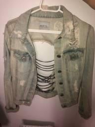 jaqueta jeans com correntes
