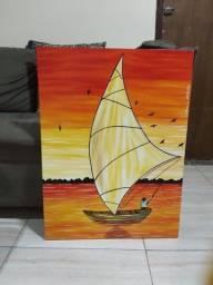 Pintura em tela barco pescador tamanho grande NOVO 60x80