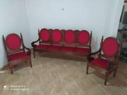 Conjunto de sofá de madeira maciça em cerejeira.