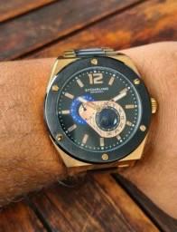 Relógio Stührling ouro rosê com black piano Original