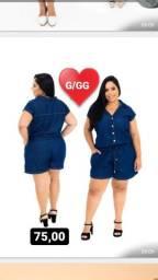 Macaquinho/Macaquito jeans GG plus size moda evangélica