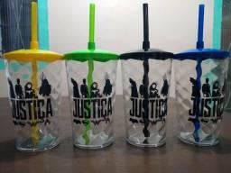 Copo Twister com Canudo Liga da justiça