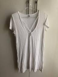 Vestido Camiseta Branco com decote X