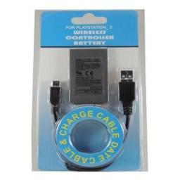 Bateria para Controle Dualshock Ps3 Play 3 Cabo Carregador