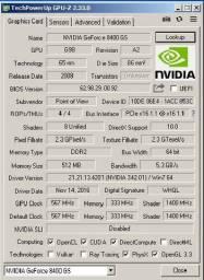 Placa de Vídeo Nvidia GeForce 8400 GS - Usada