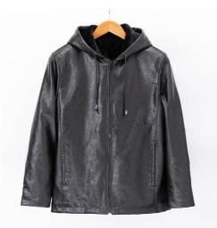 casaco de couro impermeável com capuz