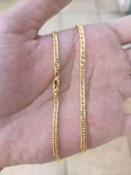 Corrente Cordão Grumet Dupla 3mm 70cm Banhado a Ouro 18k NOVO