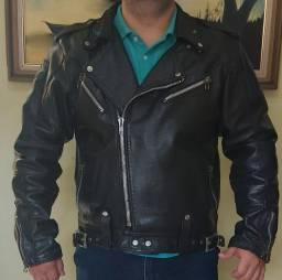 Jaqueta de couro motociclista (modelo exterminador)