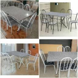 Mesa 6 cadeira ferro com mármore entrega grátis nova da loja