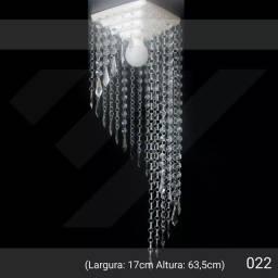 Lustre Cristal Acrílico Quadrado Grande 17x63cm Campo Xxi