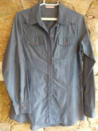 Camisa social FEM, P/M manga longa, tecido, estilo jeans, c/ tachas