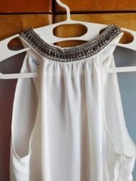 Título do anúncio: blusa regata branca gola fechada detalhe pedrarias