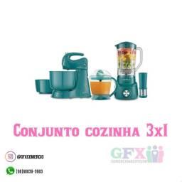 Conjunto de cozinha 3x1 lindo e prático