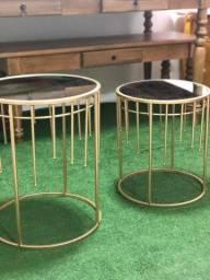 2 mesinhas redondas metalon douradas tampo de espelho