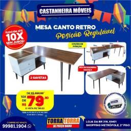 Mesa de Canto, 2 gavetas, pés em madeira maciça, 10x  de R$ 79,90, sem Juros!!