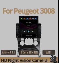 Central Multimídia Peugeot 3008 2011 a 2016 Moldura, GPS, Android 9.0 Camera de ré inclusa