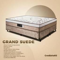 Cama Box Grand Sued em 10 x no Crediário