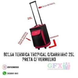 Bolsa termica tropical c/carrinho 25l preta c/ vermelha