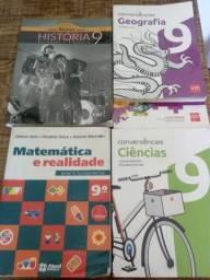 Livros 9 ano Matemática, História,Geografia, Ciências