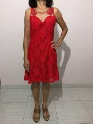 Vestido De Festa Vermelho Rendado