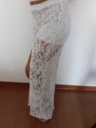 Calça pantalona branca de renda (Nova)