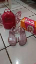 Sandália barbie tamanho 34 tenis allstar número 31 e mochila lol de carrinho