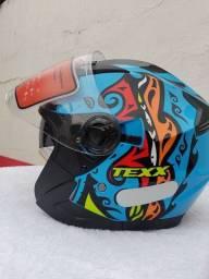 Capacete Motociclista Texx Ungello Hunger Azul Novo  Tamanho 60