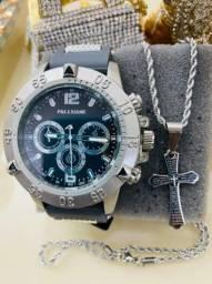 Relógio masculino com corrente