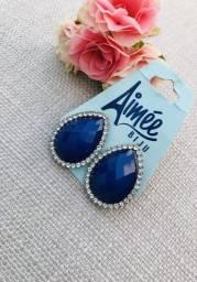 Brinco Gota Ônix azul/Aimée