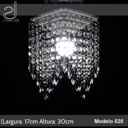 Lustre pendente em cristal acrilico 17x30cm lindo ,Campo XXI