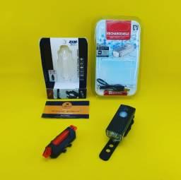 Kit Iluminação para Bike ( Recarregavel ) Lanterna + Sinalizador