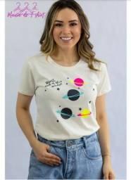T-shirt Blusa Camiseta Feminina 100% Algodão Planetas Off White