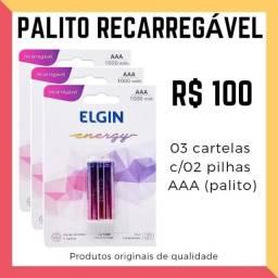 3 cartelas Pilha recarregável Elgin