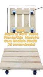 Suporte Para Vasos Planta/ Gás de Madeira Com Rodizios 30x30