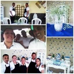 Equipe de garçons, copeiras, churrasqueiro, dj, recepção para sua festa