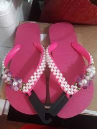 Chinelo bordado  pink