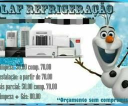 Promoção em refrigeração limpeza central de ar 70 e instalação simples 70 reais