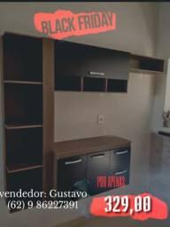 armário de cozinha preto com marrom completo