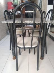 Mesa retangular 6 lugares tampo granito com 6 cadeiras