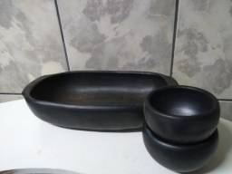 Jogo - Forma de cerâmica + 2 cumbucas