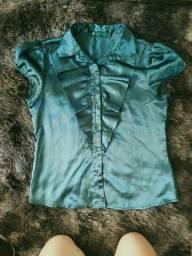 Blusa feminina M turquesa acetinada
