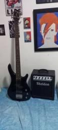 Contrabaixo Condor bx-12 4 cordas e amplificador Sheldon bss 180
