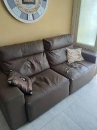 Sofa retratil 3 lugares courino marrom