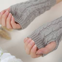 1 par de luvas de meio dedo unissexo inverno malha elástica